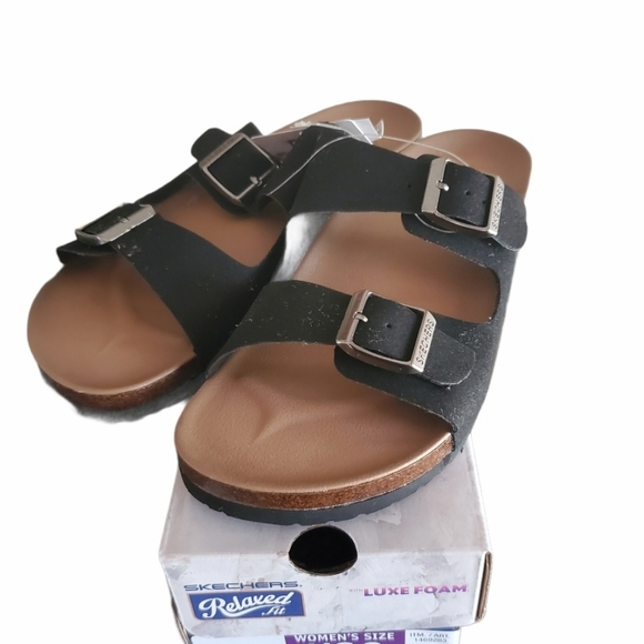 Skechers Relaxed Fit Black Sandals Size 8